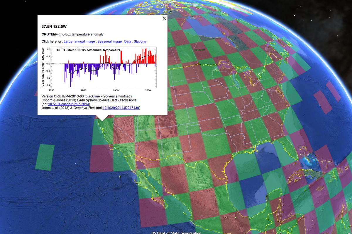 The CRUTEM4 dataset provides Google Earth users with access to one of the most widely used records of Earth's climate