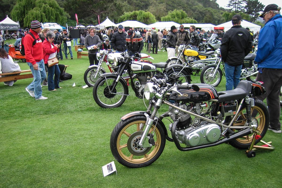 Nortons and more Nortons –fans could viewmore than three dozen different types at the Quail Motorcycle Gathering