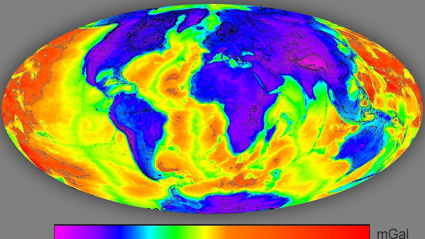 The Bouguer anomaly map was used to identify areas where the Earth's crust is particularly (seen in red), helping to identify potential geothermal energy sites (Image: ESA/IRENA)
