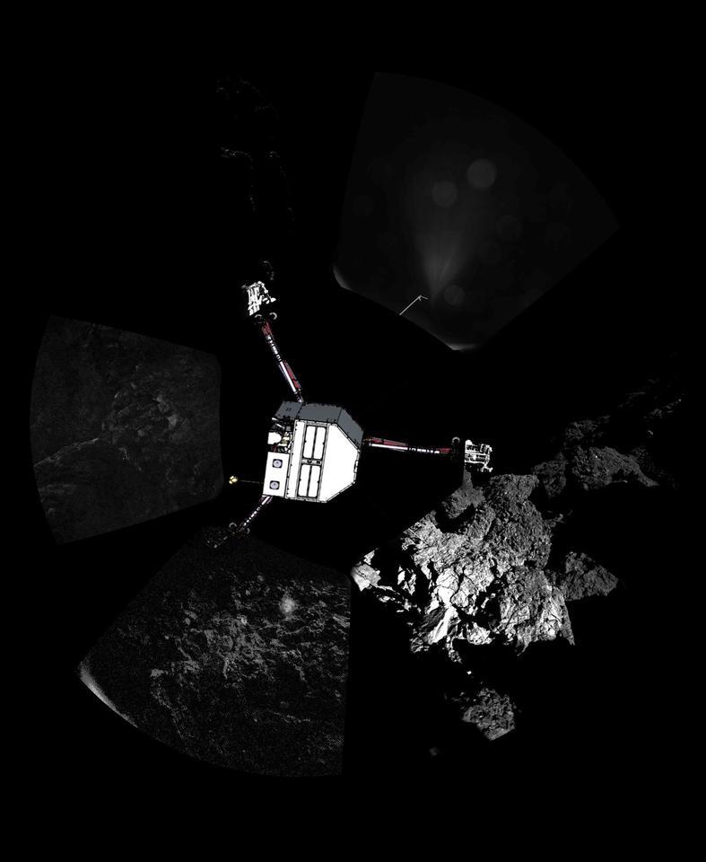 Panorama of Philae landing site with lander superimposed (Image; ESA)