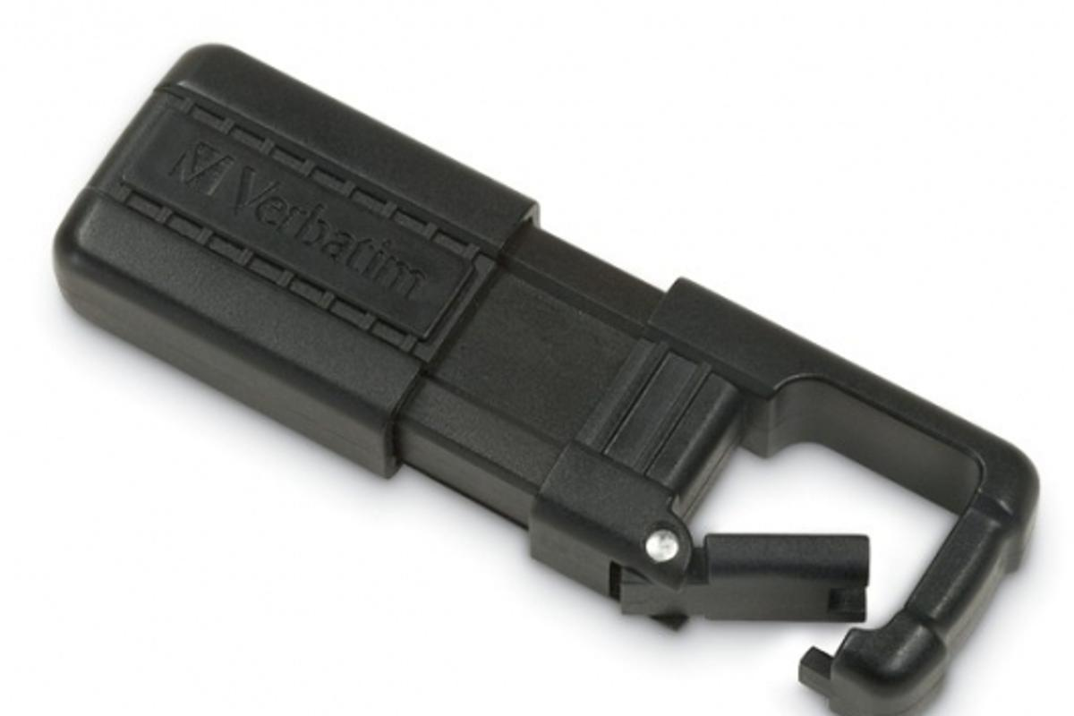 The Verbatim TUFF-CLIP USB drives come in 4GB and 8GB sizes and are more robust than standard USB drives