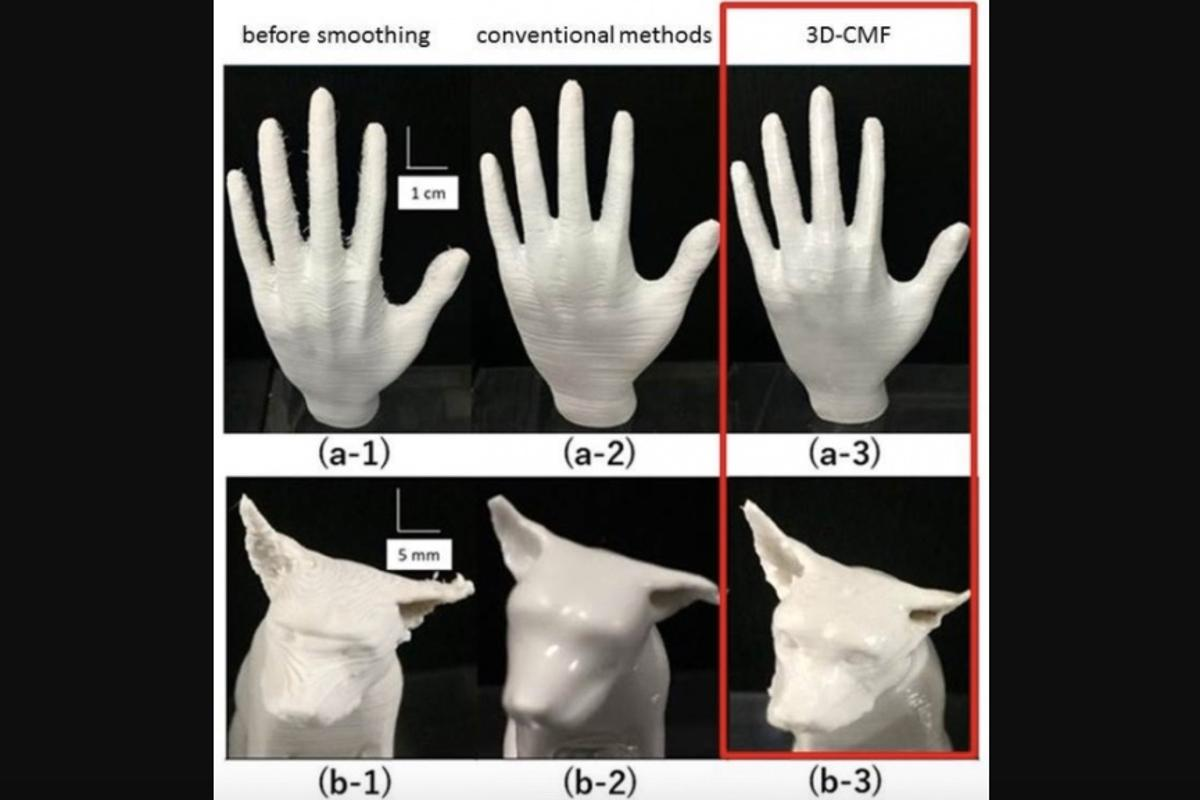 Comparison of printed surface before smoothing (1), with smoothing by conventional methods (2) and by 3D-CMF (3)