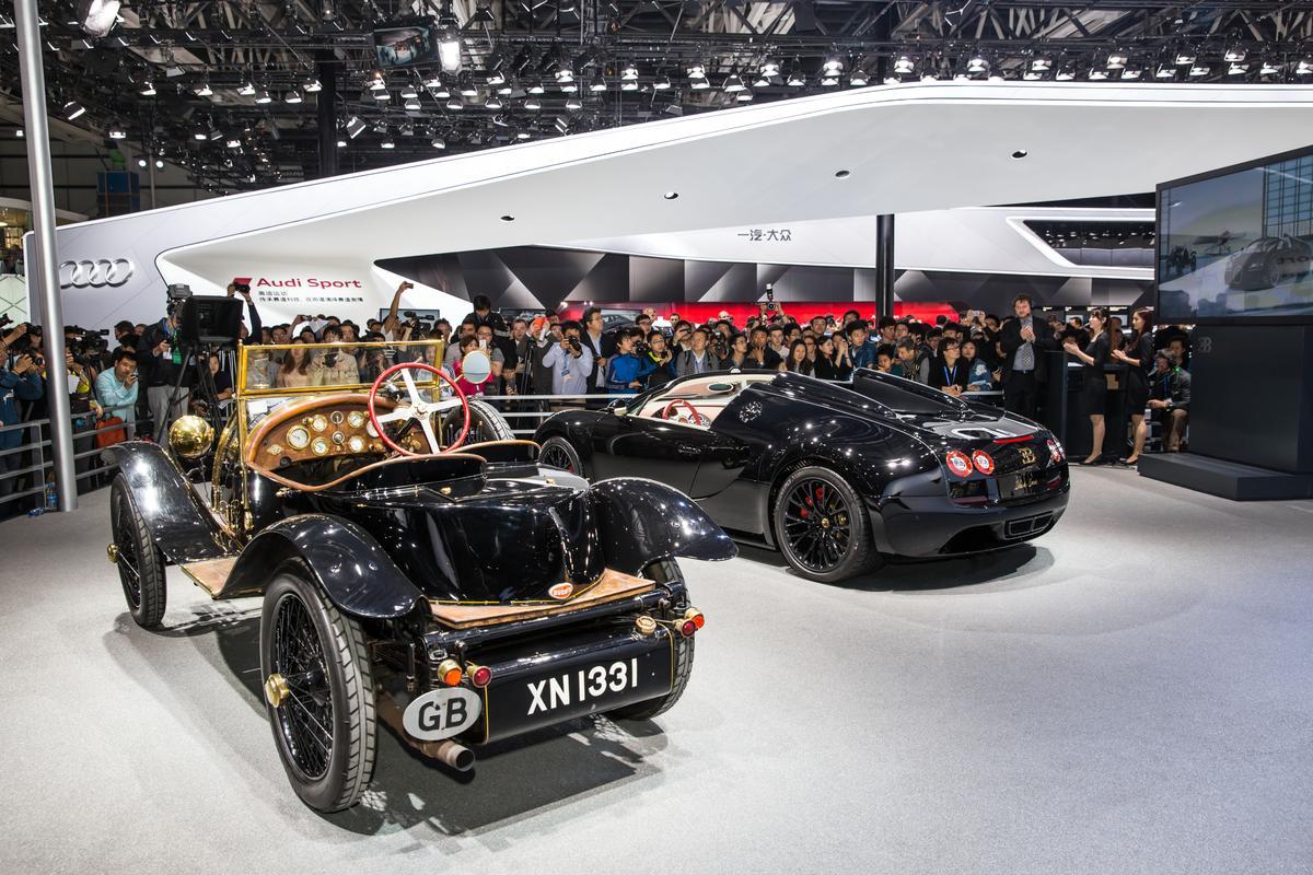 Bugatti shows the new Vitesse Legend next to the original Black Bess in Beijing