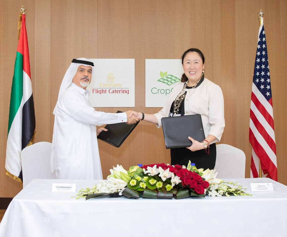 Saeed Mohammed, CEO of Emirates Flight Catering, and Sonia Lo, CEO of Crop One Holdings