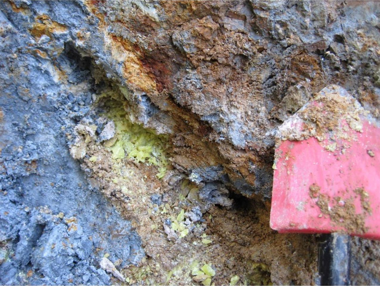 A natural deposit of the blue clay in Oregon