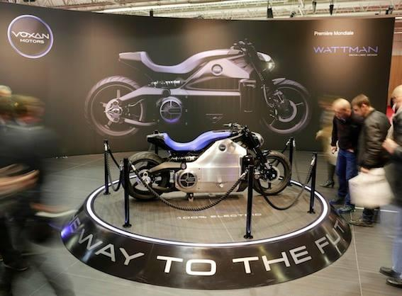 The new Voxan Wattman electric motorcycle displayed at the Paris Motor Show (Photo: Voxan Motors)