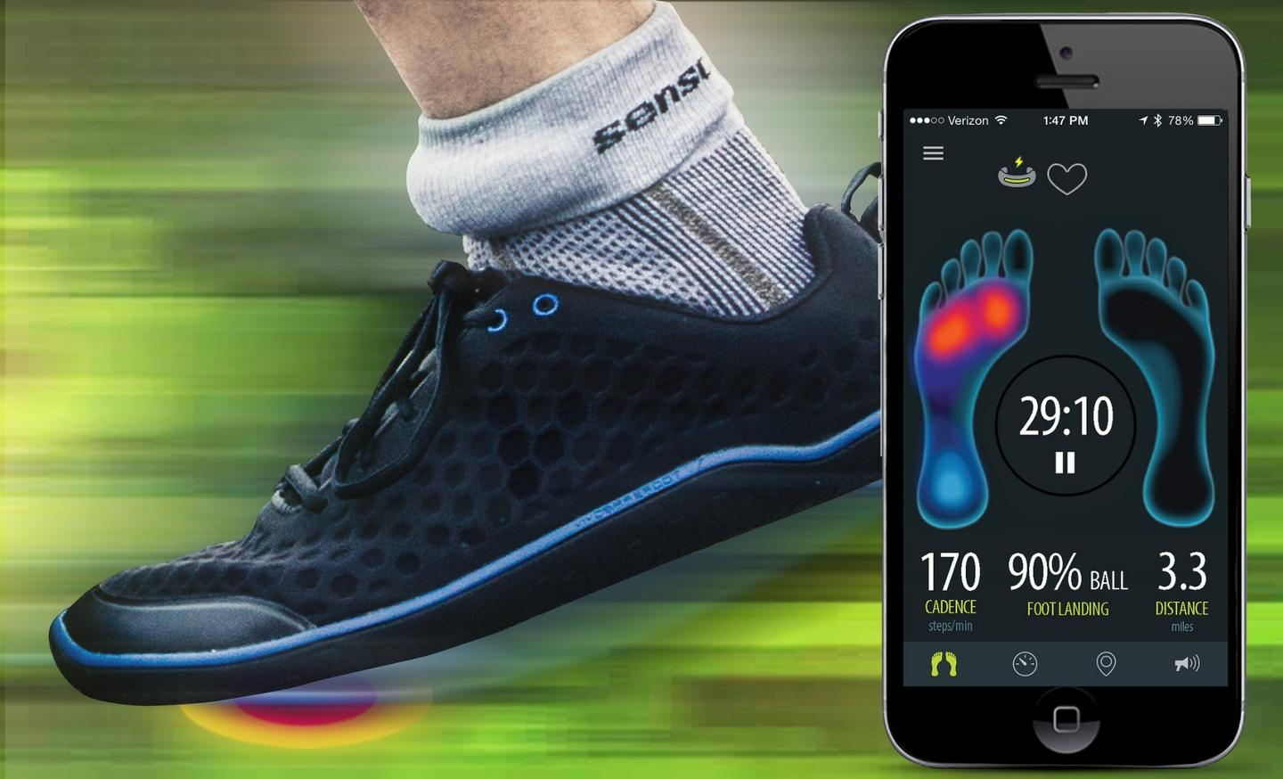 The smart fitness system connects to the Sensoria app