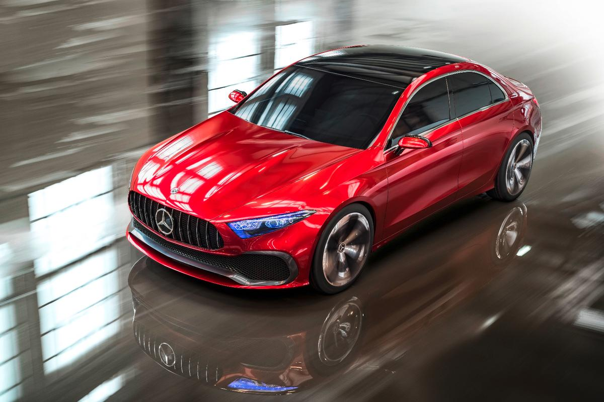 The Mercedes-Benz Concept A Sedan is presentlyon display in Shanghai during the auto show