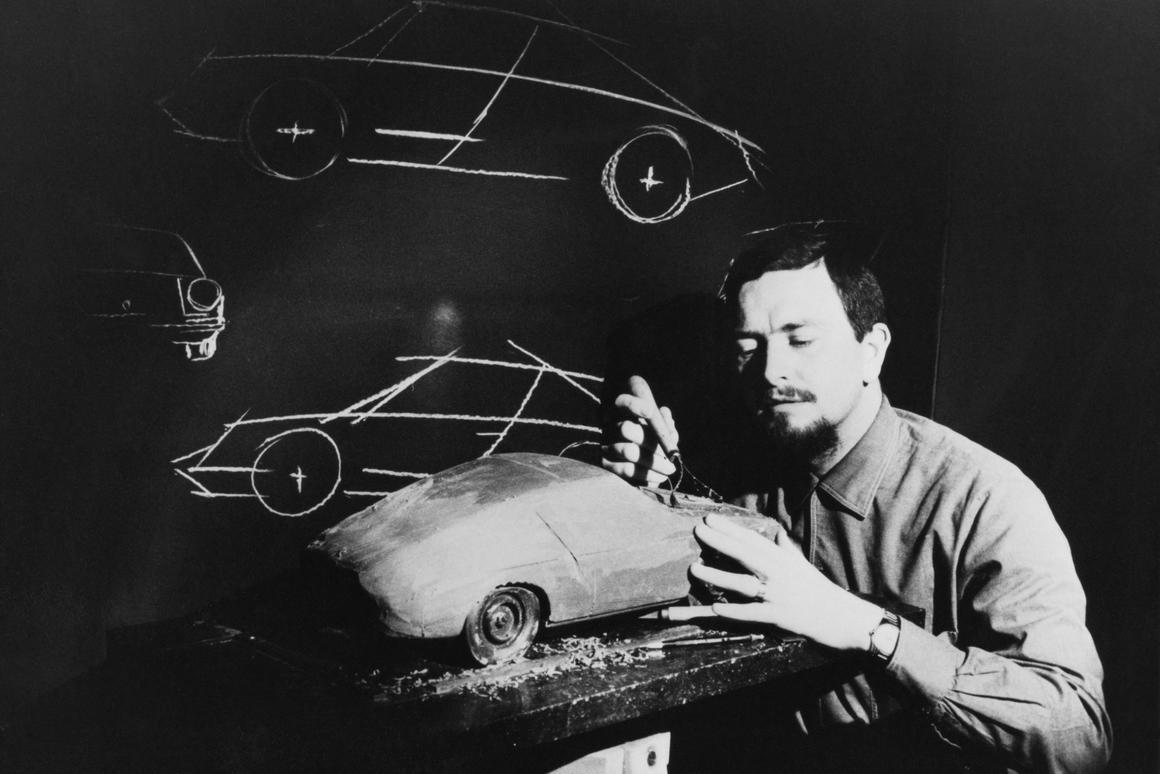 Ferdinand Alexander Porsche and a Porsche model under development in 1968