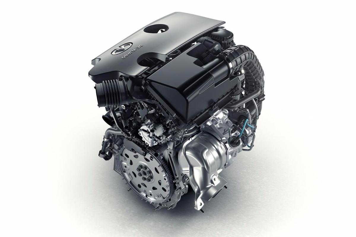 Infiniti's 2.0-liter, 4-cylinder, four cylinder VC-T engine can vary its cylinder compression ratios between 8:1 (allowing high turbo boost for maximum performance) and 14:1 (giving you maximum efficiency when you're cruising)