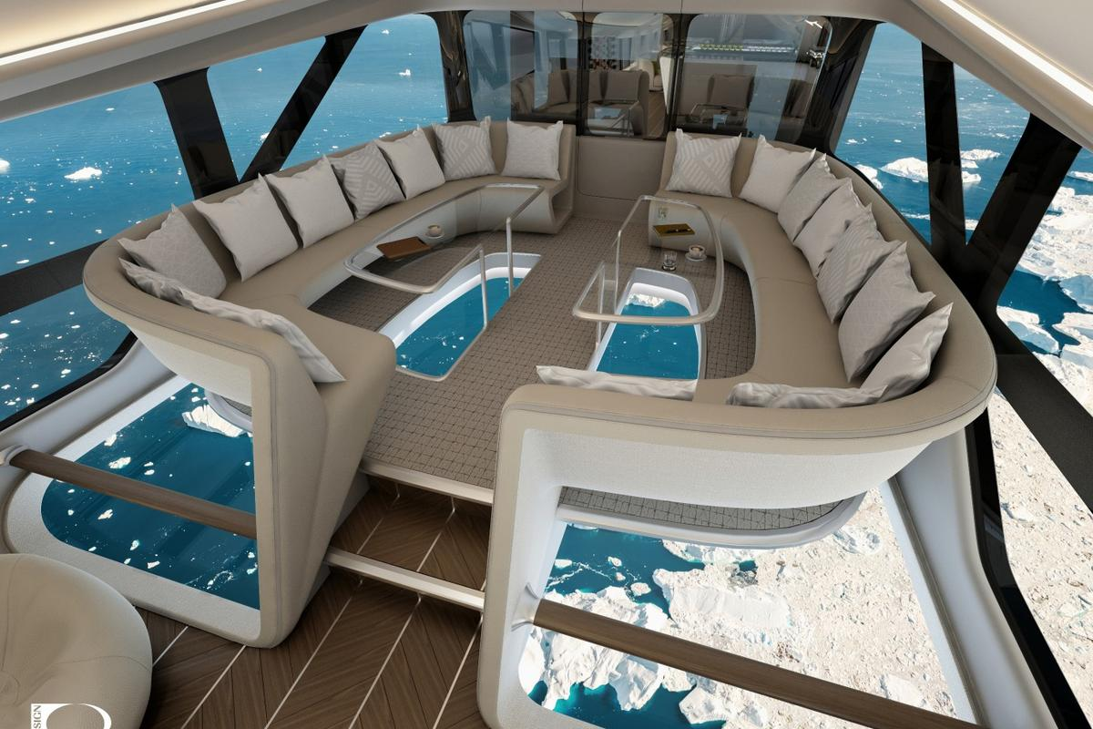 Plans call for the tourist version of the Airlander 10  airship to feature an Infinity Lounge with floor-to-ceiling windows