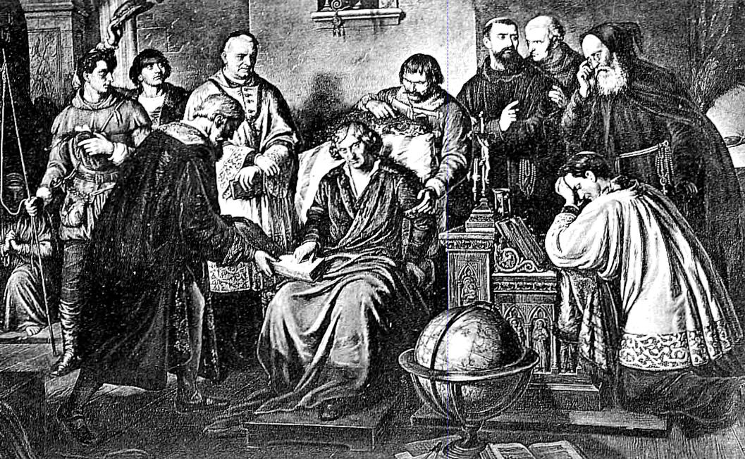 De revolutionibus orbium coelestium (On the revolutions of the heavenly spheres), by Nicolaus Copernicus was finally published in 1543, though its core was written at least three decades prior, and Copernicus resisted publication, finally handed one of the first printed copies on his death bed (as the above quite famous illustration depicts). He was thus spared the fury of the Catholic Church which regarded his heliocentric views as heresy. A century later, Galileo Galilei experienced persecution for promoting the same ideas, spending the last 25 years of his life under house arrest. In his lifetime Copernicus would never grasp the importance of his work, or that the book he resisted publishing would be forever recognized as a landmark event in the history of science.