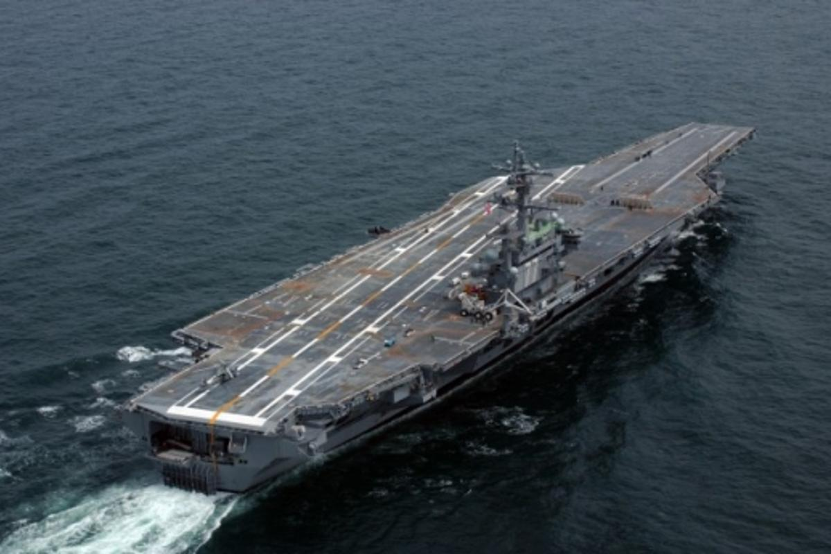 Reports of a new anti-ship ballistic missile suggest it is capable of targeting aircraft carriers, such as the USS George H.W. Bush (pictured)Picture courtesy of the US Navy