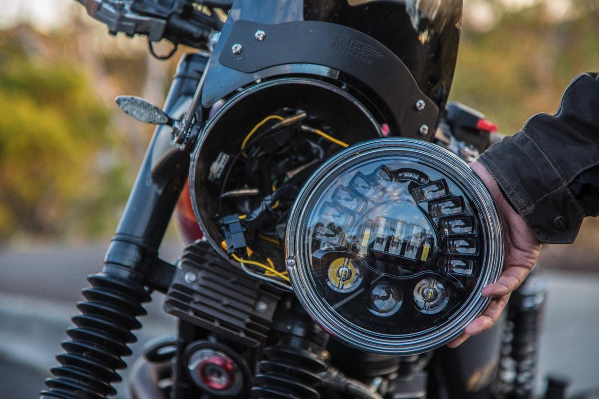 J.W. Speaker Model 8790 Adaptive Low Beam LED Headlight: fits easily into any standard 7-inch headlight bucket in a 15-minute installation. Here shown on a 2008 Triumph Bonneville.