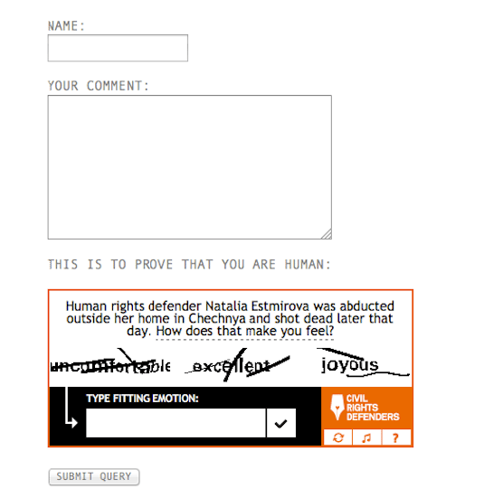 The Civil Rights Captcha employs questions concerning civil and political rights to ward off spambots