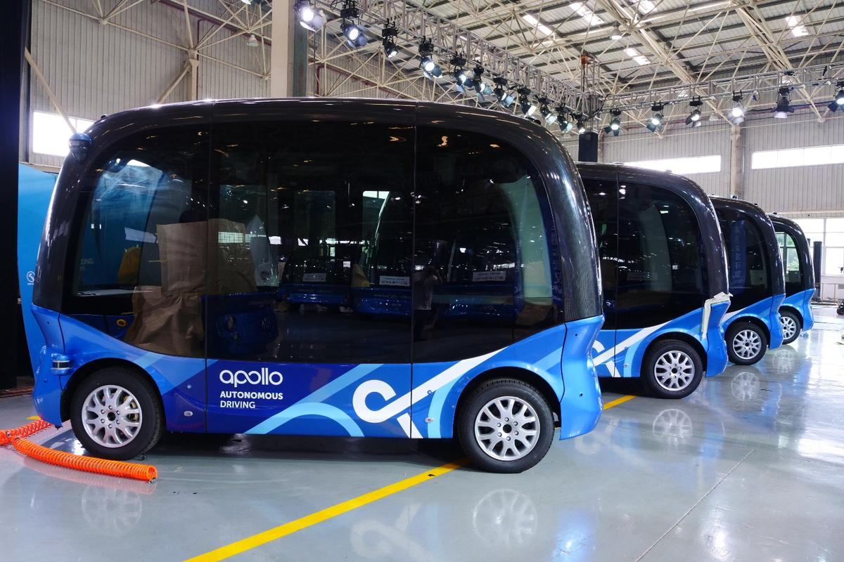 Almost ready to roll: Built by King Long and powered by Baidu's Apollo autonomous platform, the first stop for the Apolong self-driving mini bus will be Chinese cities, before heading to Japan and beyond