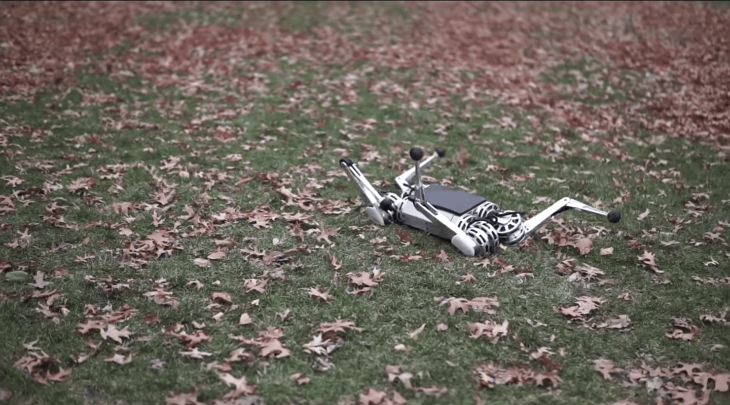 The MIT Mini Cheetah robot can pick itself up when knocked down