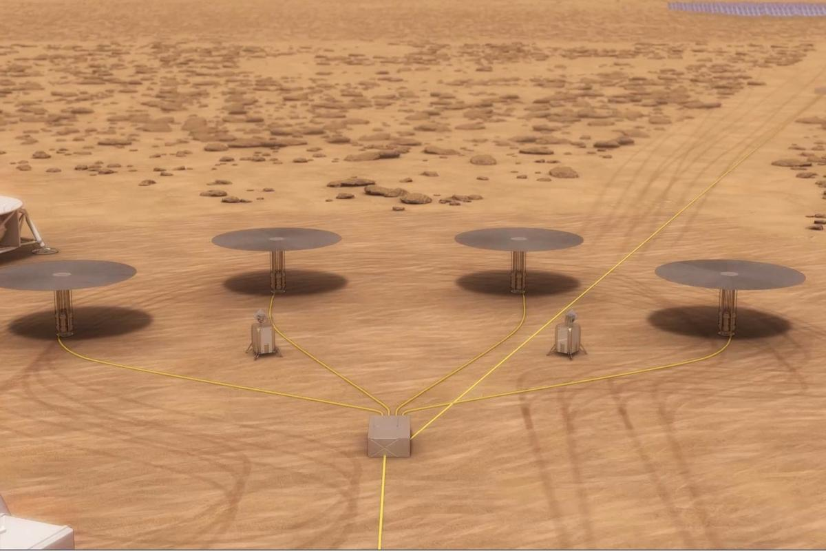 Artist's concept of four Kilopower reactors at a Mars base