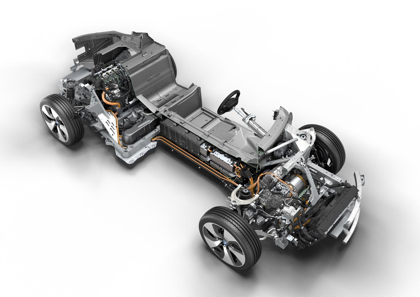 The BMW i8's hybrid powertrain - electric at the front, combustion at the rear
