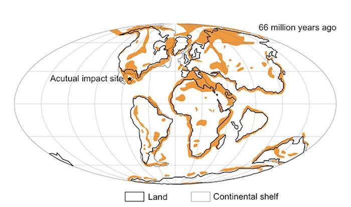 This chart shows just how unlucky the dinosaurs were: a mass extinction that devastating could only occur if an asteroid struck a hydrocarbon-rich area (those marked in orange), making up just 13 percent of the Earth's surface at the time