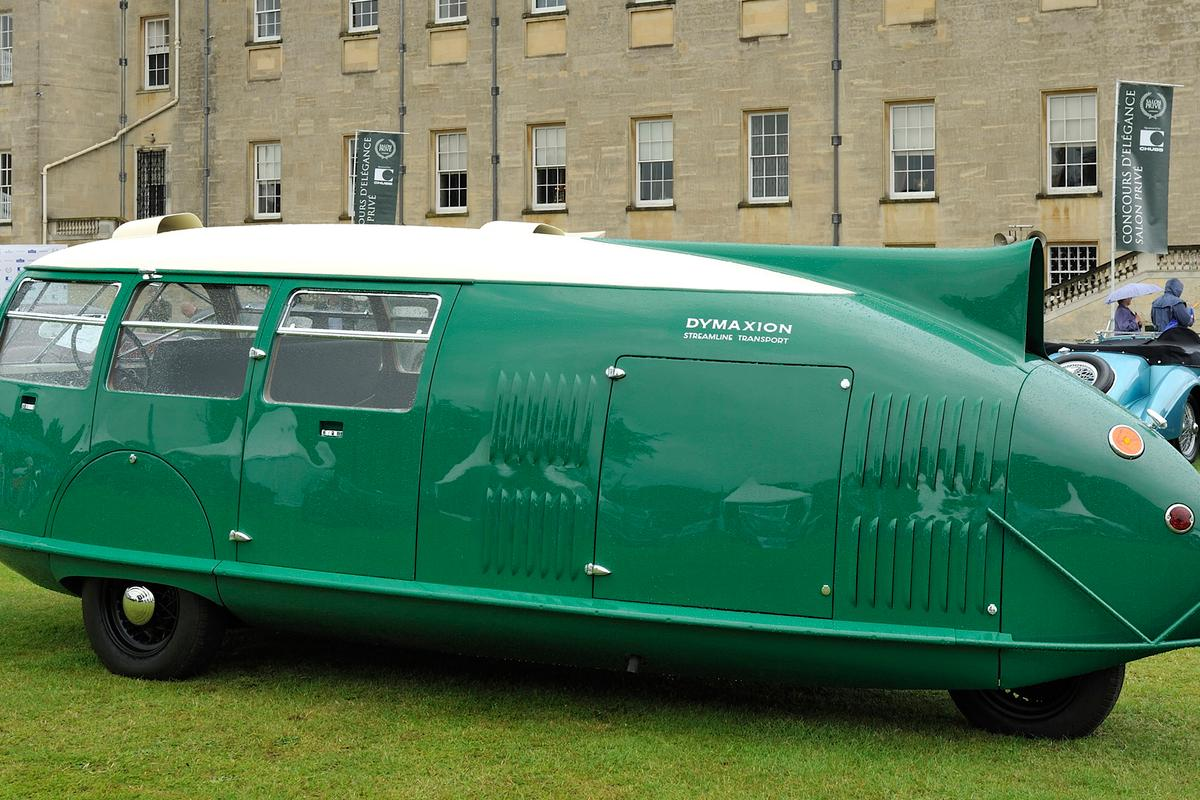 The aerodynamically efficient Dymaxion car could transport 11 passengers and returned 36 mpg from a V8 in 1933.