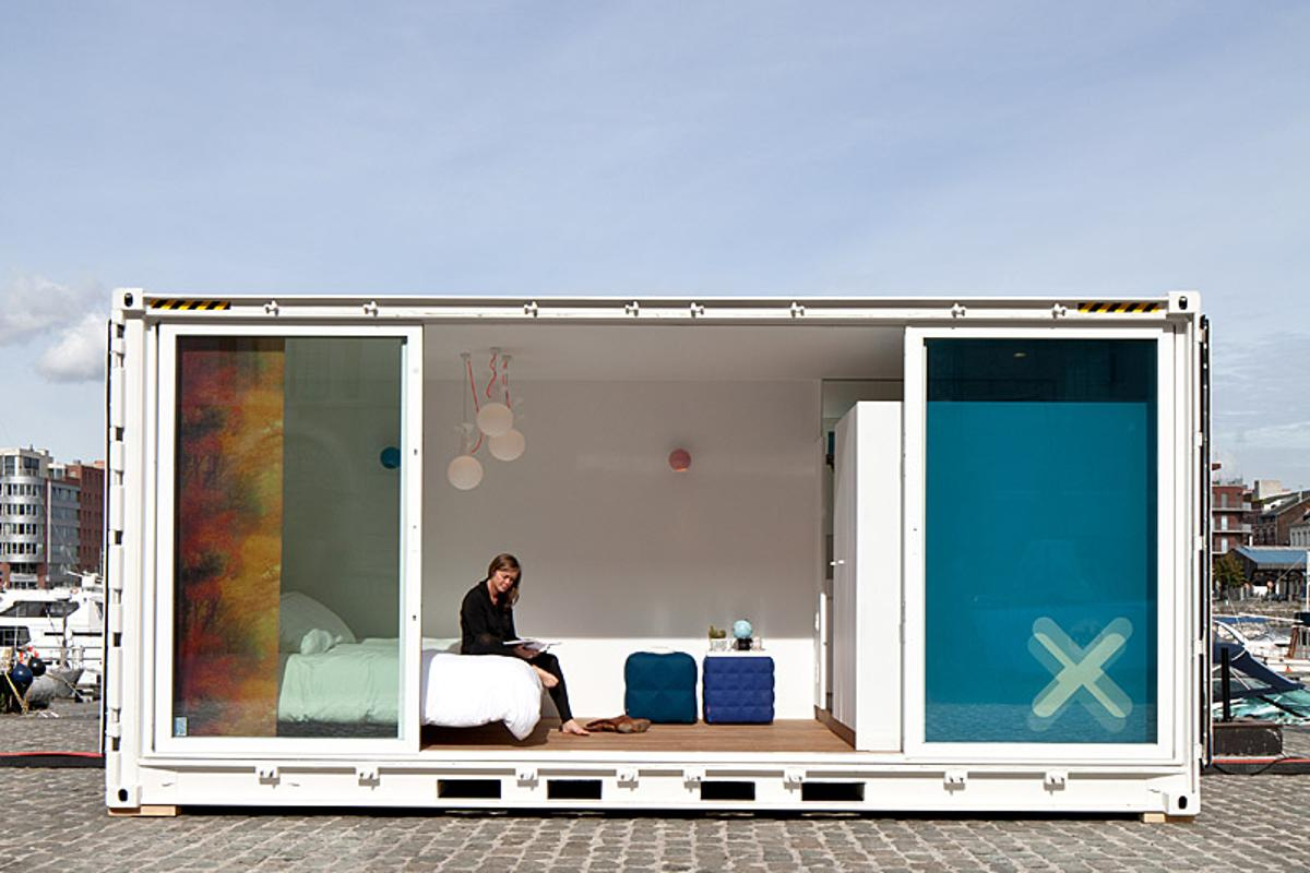 Sleeping Around is a portable hotel comprised of shipping containers that's small enough to be placed in almost any location within a few hours