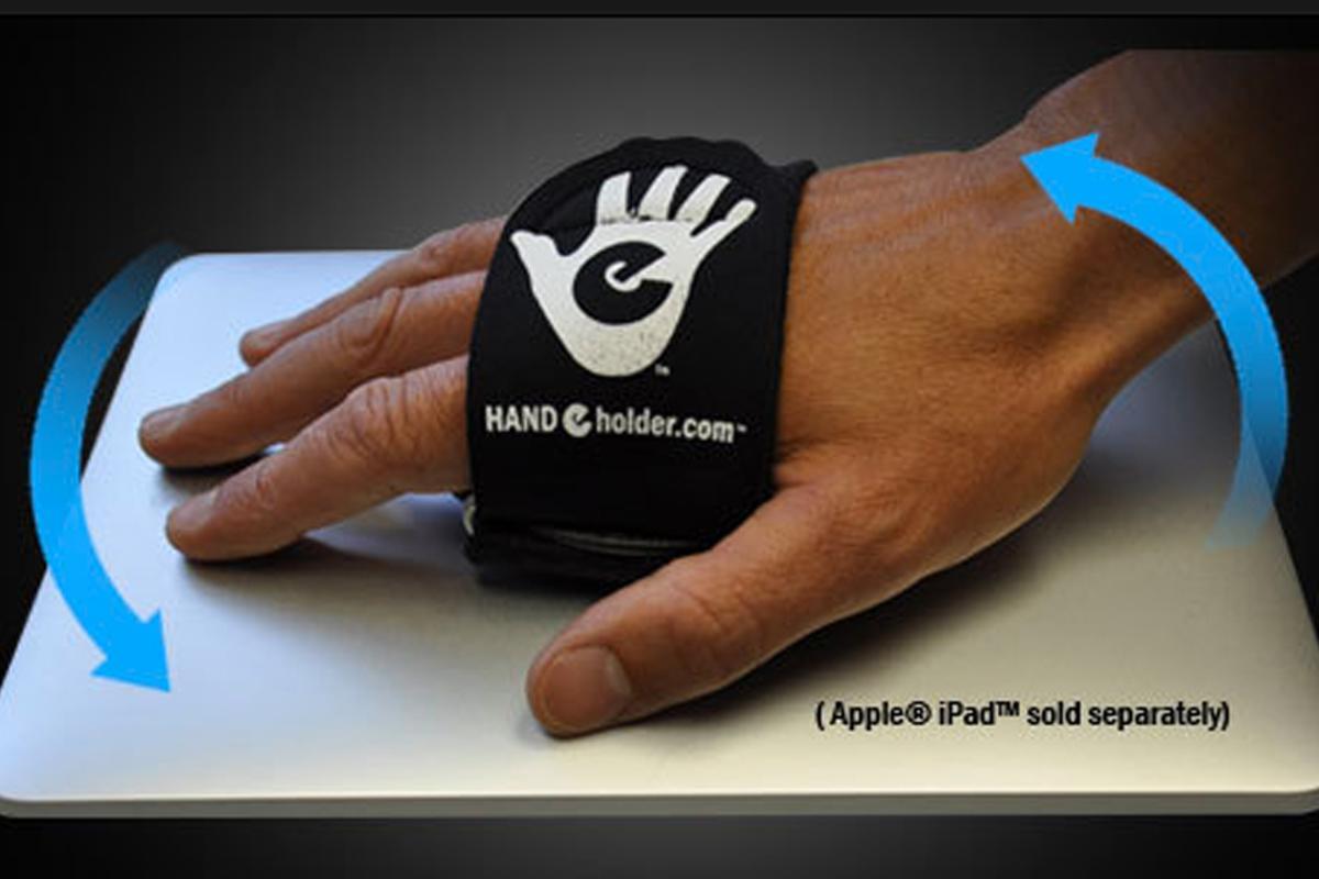 The Hand-e-holder makes it easier to securely hang onto tablet computers such as Apple's iPad