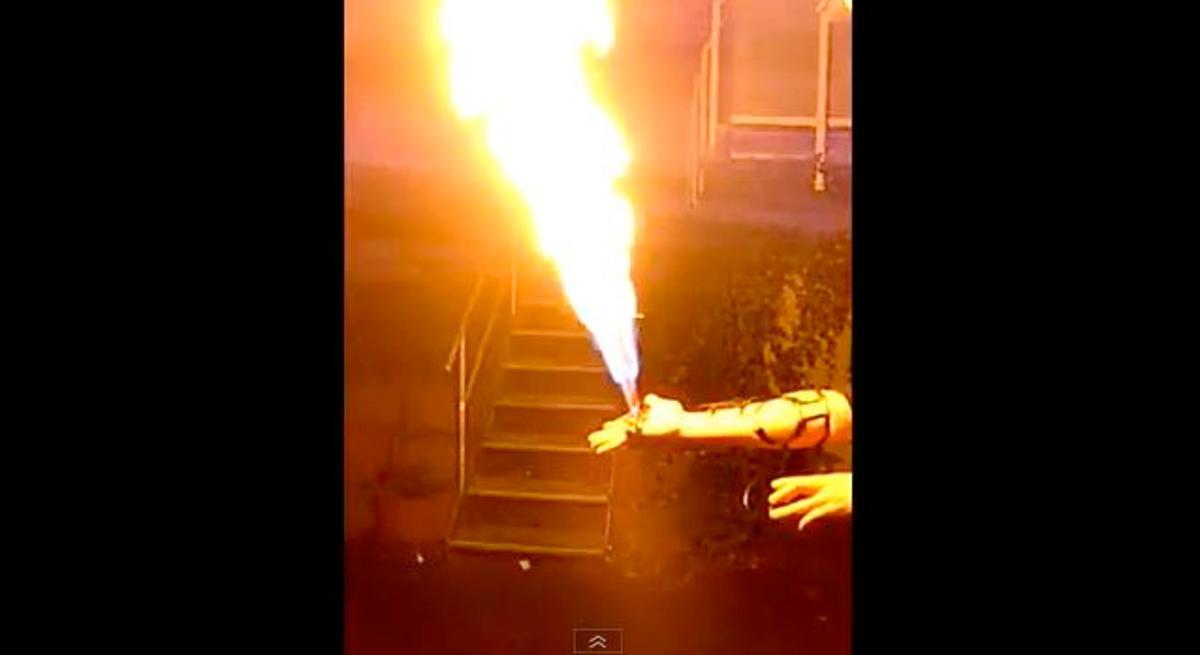 Cyberpunk weapons hobbyist Patrick Priebe has created a hand-mounted flamethrower