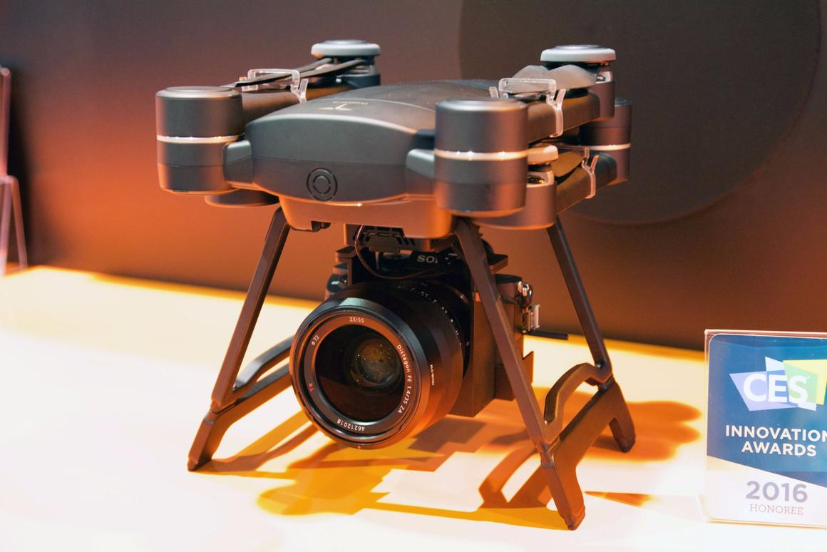 A ProDrone Byrd with a DLSR attached via the Ultimate Flying Platform, on display at CES