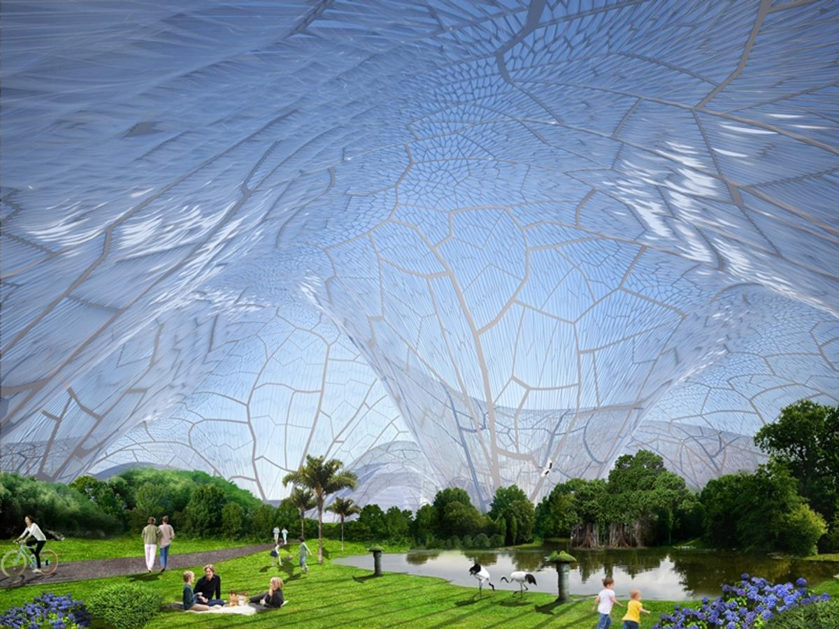 Bubbles is a huge sealed canopy filled with clean air proposed for Beijing