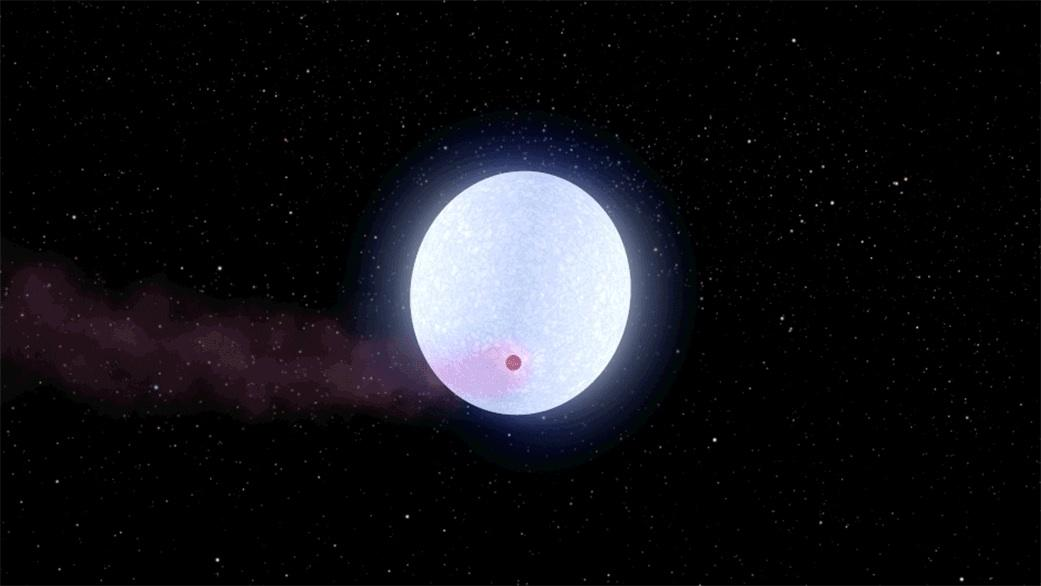 KELT-9b, seen as the pink dot passing in frontof its blue Type-A hoststar,is the hottest exoplanet ever discovered