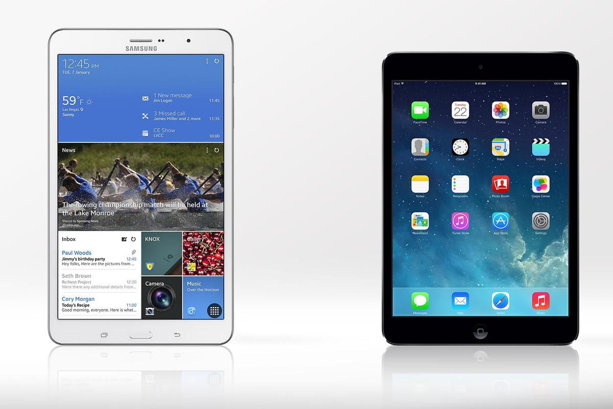 Gizmag compares the specs and features of the Samsung Galaxy Tab Pro 8.4 and iPad mini with Retina Display