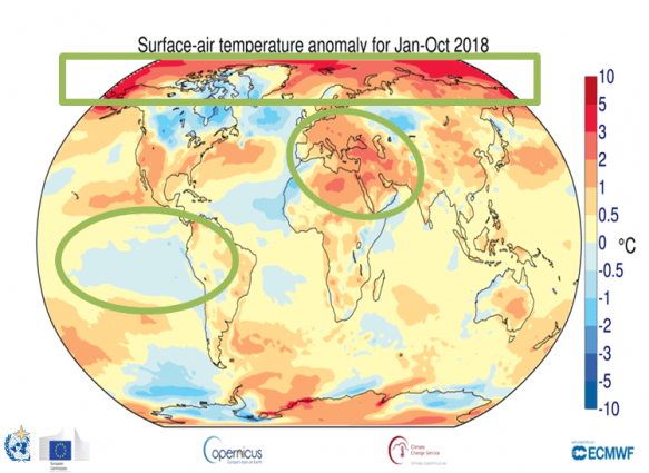 A chart describing the surface-air temperature anomalies for January to October 2018
