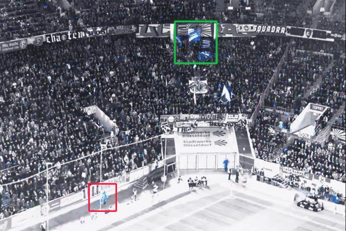 The Smart Eyes system surveys the stands at a soccer match