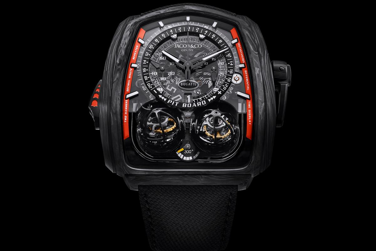 The Twin Turbo 300+ wristwatch inspired by the Chiron Super Sport 300+