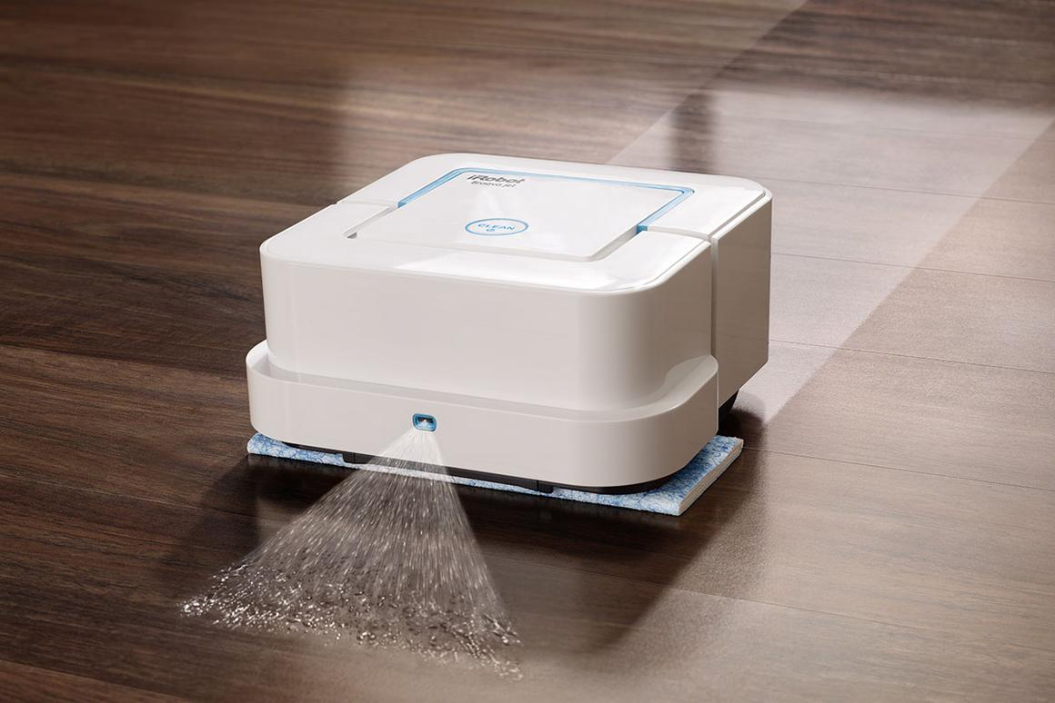 The iRobot Braava jet Mopping Robot is designed to clean up hard surfaces in high-traffic areas