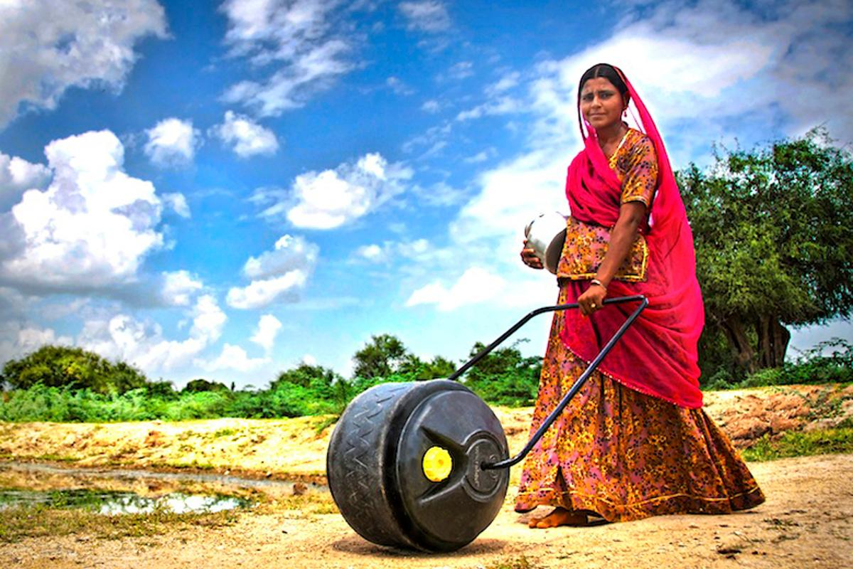 The WaterWheel is designed to transport three to five times as much water as traditional methods