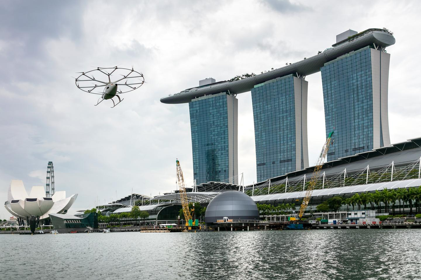 The Volocopter 2X took off on its first manned flight over Singapore's Marina Bay on Tuesday