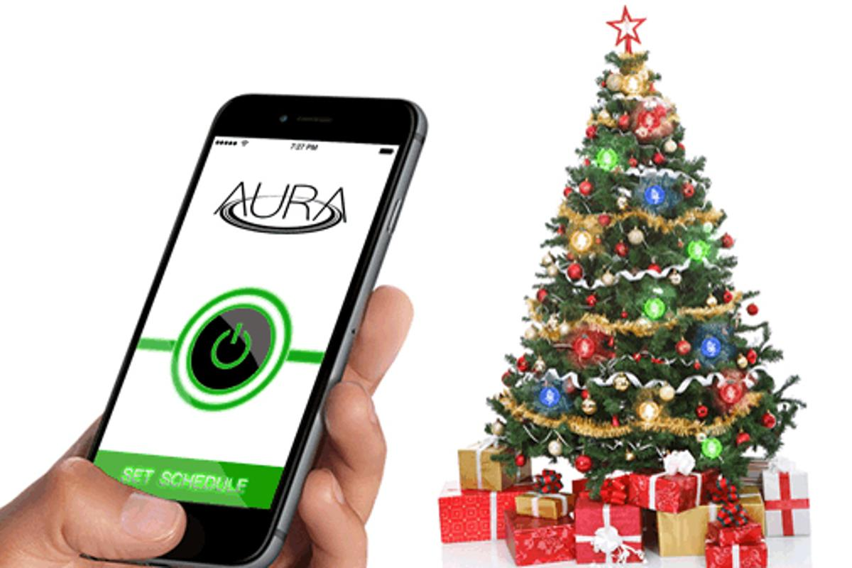 The Aura Christmas lights are powered and controlled wirelessly