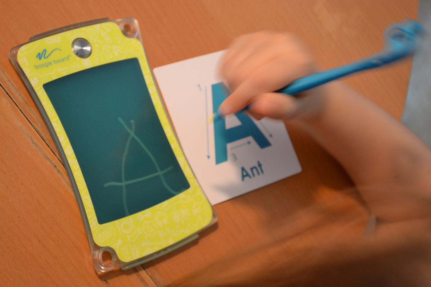The new Boogie Board Jot 4.5 features atranslucent screen for young learners
