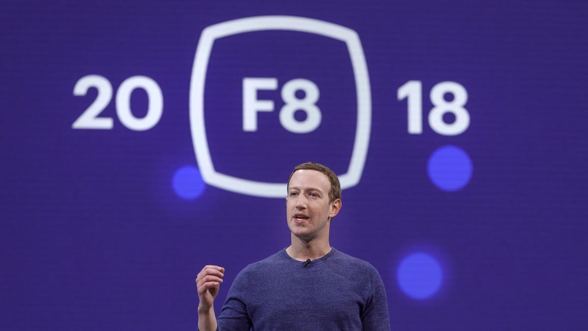 Facebook CEOMark Zuckerberg on stage at F8 2018