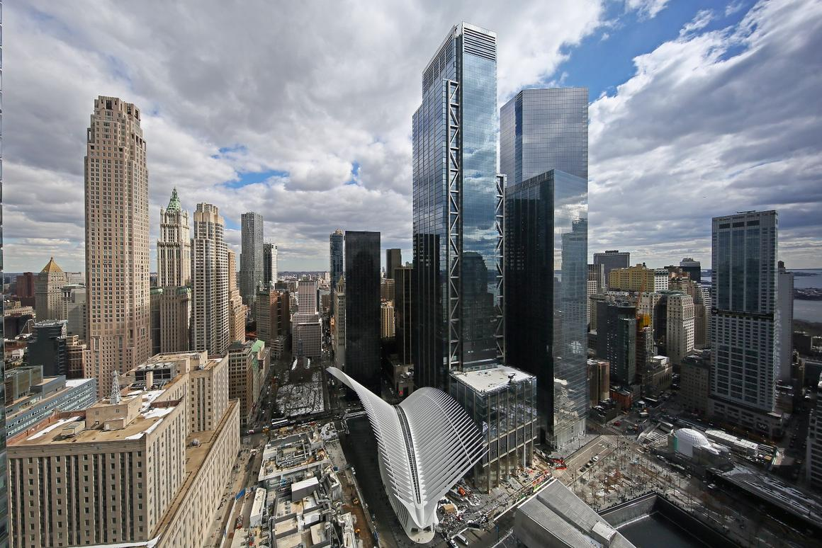 3 WTC, the taller glazed building pictured,is the second-tallest building in the World Trade Center site and the fifth tallest in the USA
