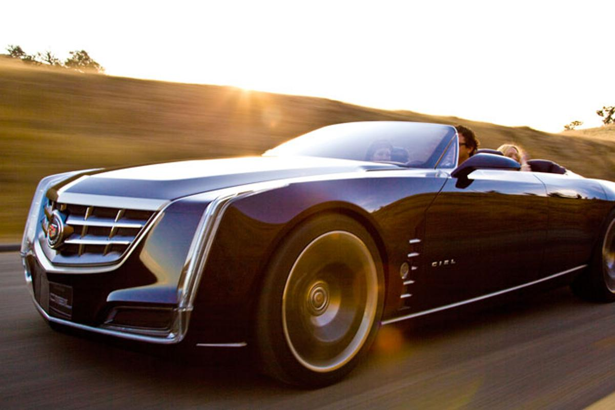 The Cadillac Ciel luxury open tourer concept car on the road.