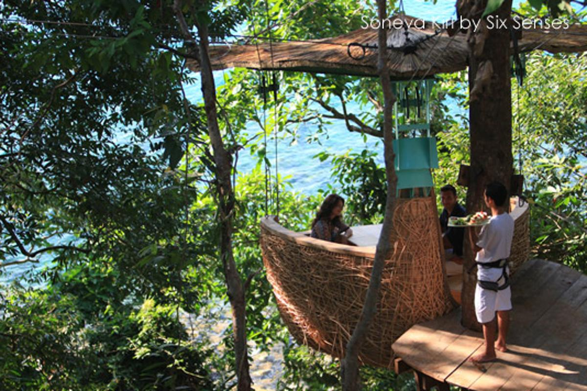 Set high among the tree tops, tree pod dining at the Six Senses' Soneva Kiri is an innovative way to experience a meal