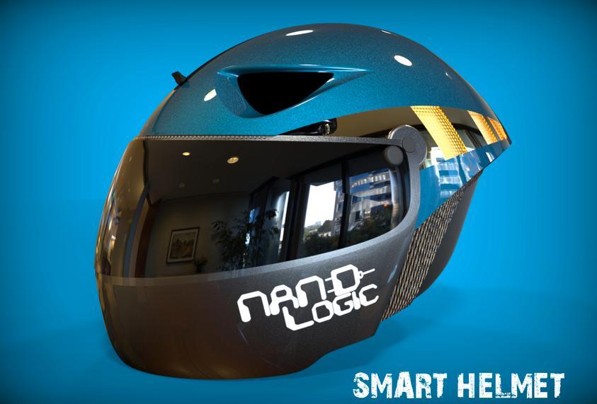 The Smart Helmet's aerodynamic design is intended to lessen wind noise
