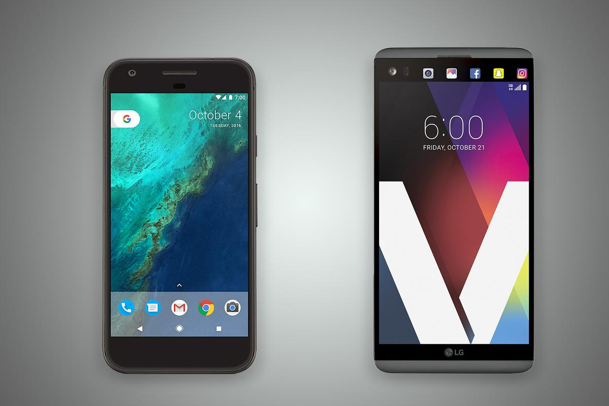 New Atlas compares the features and specs of the Google Pixel XL(left) and LGV20