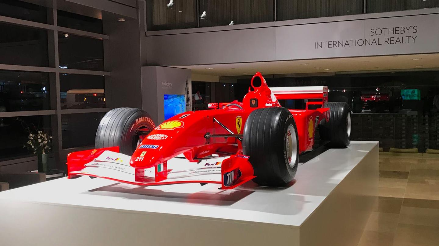 Michael Schumacher's championship-winningFerrari F2001 on display in Sotheby's Manhattanauction roomsprior to the sale – the car was sourcedvia RM-Sothebys, the world's most prominent and successful auction house for elite collectible cars, yet it was clearly a conscious decision to sell it at one of the world's most important contemporary art auctions instead