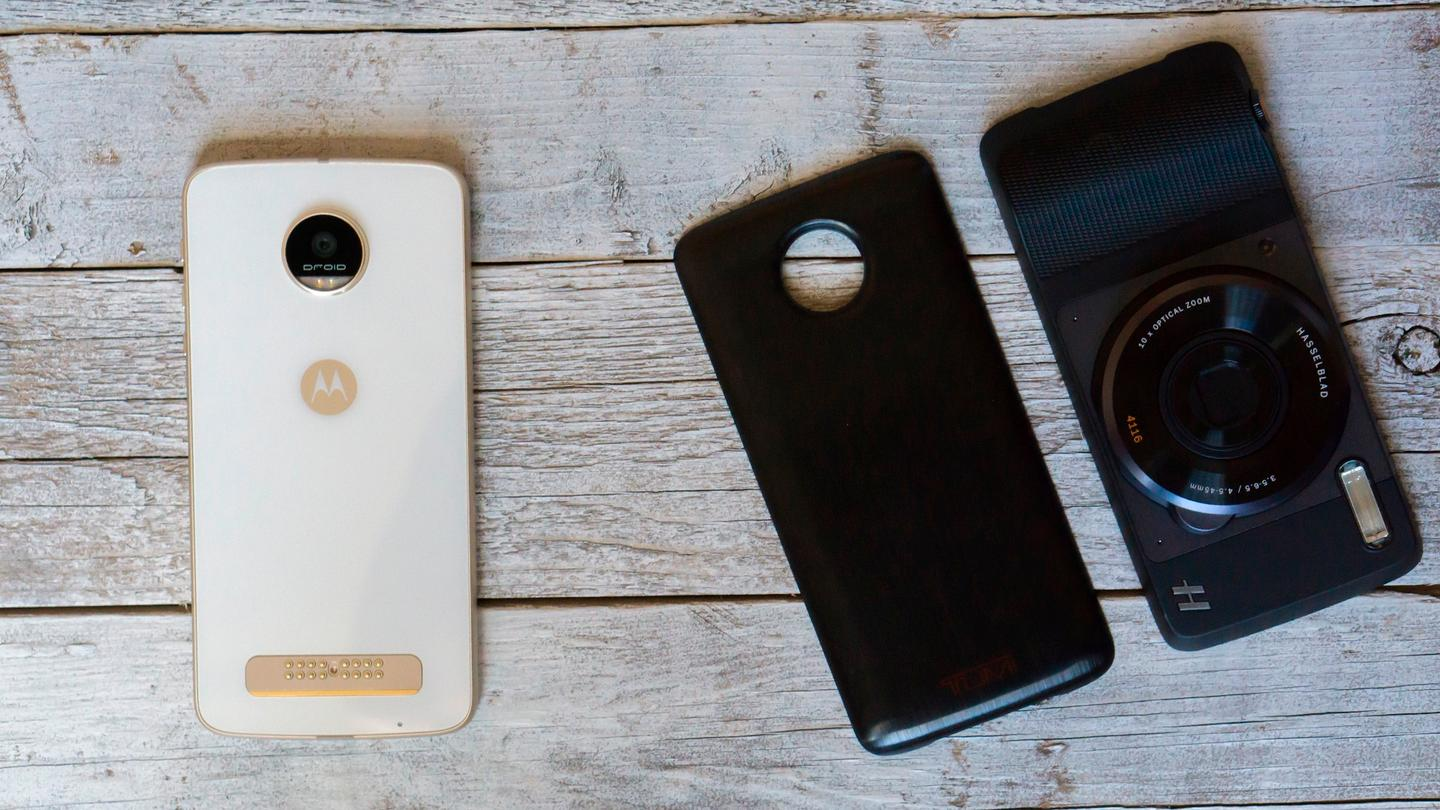The Moto Z Play, with a couple of Moto Mods