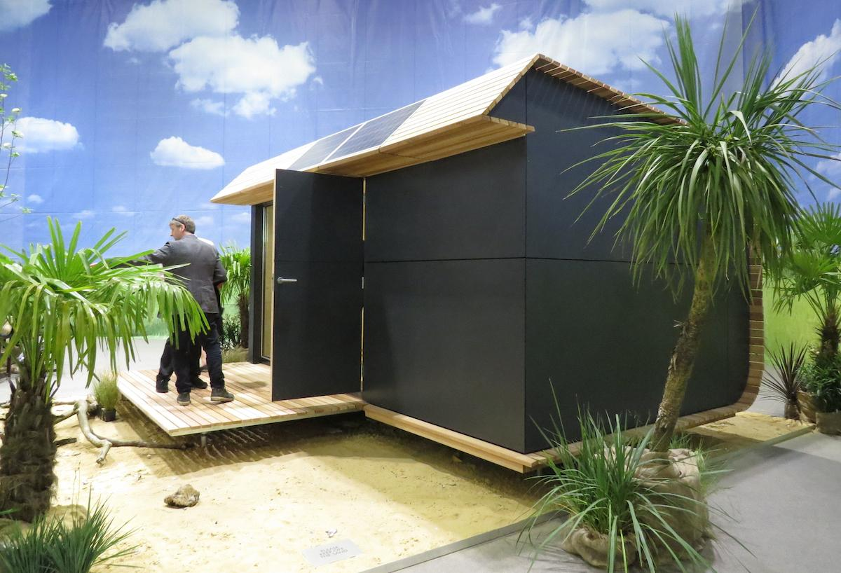 The sides and front walls of the Wave Eco Cabin make use of Vivix architectural panels