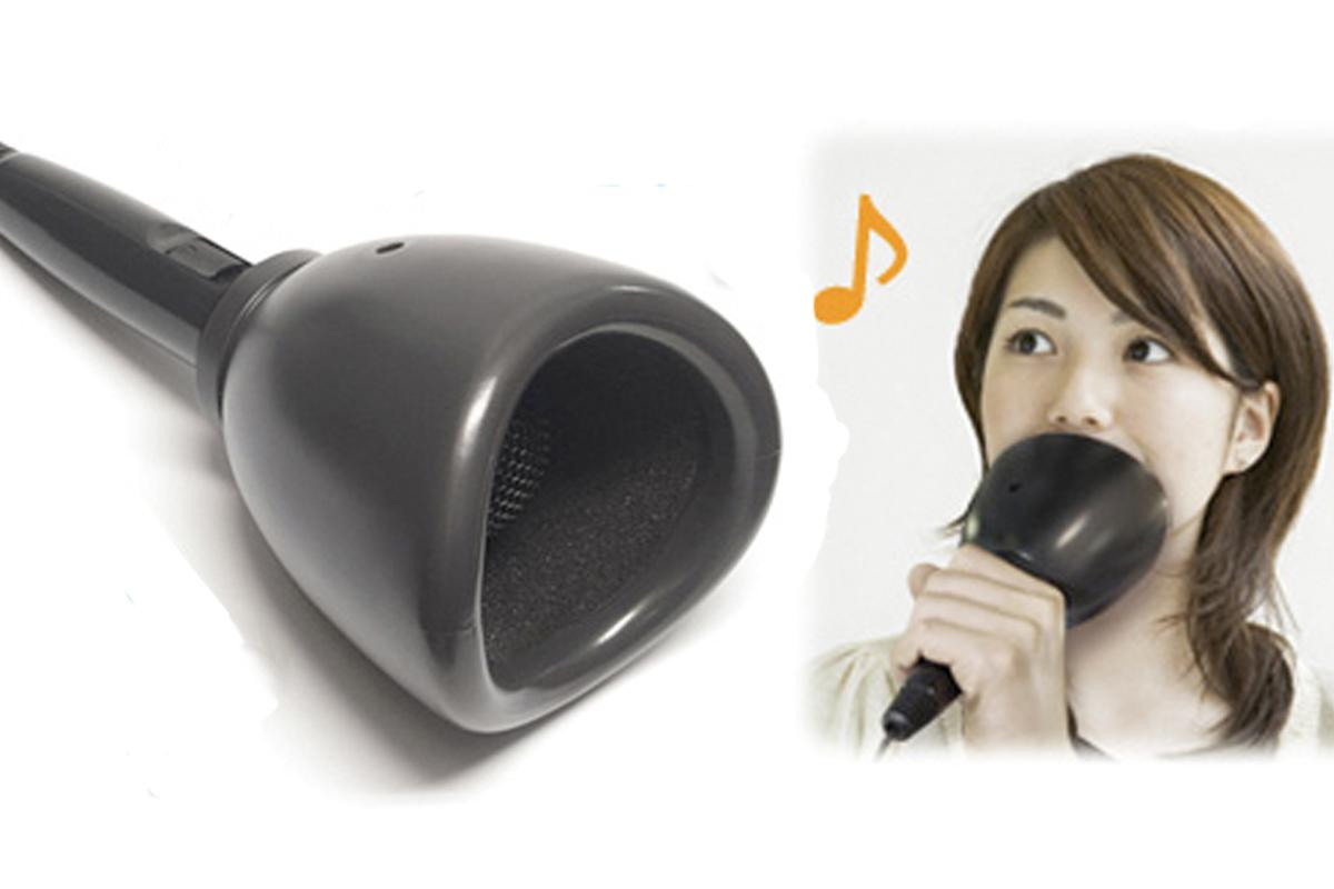 The USB Karaoke Mute-Mic acts like a cone-of-silence with its soundproofing cup around the head of the microphone
